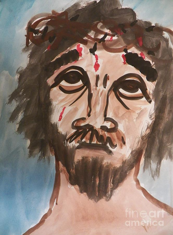 Jesus Painting - Why Have You Forsaken Me by Judy Via-Wolff