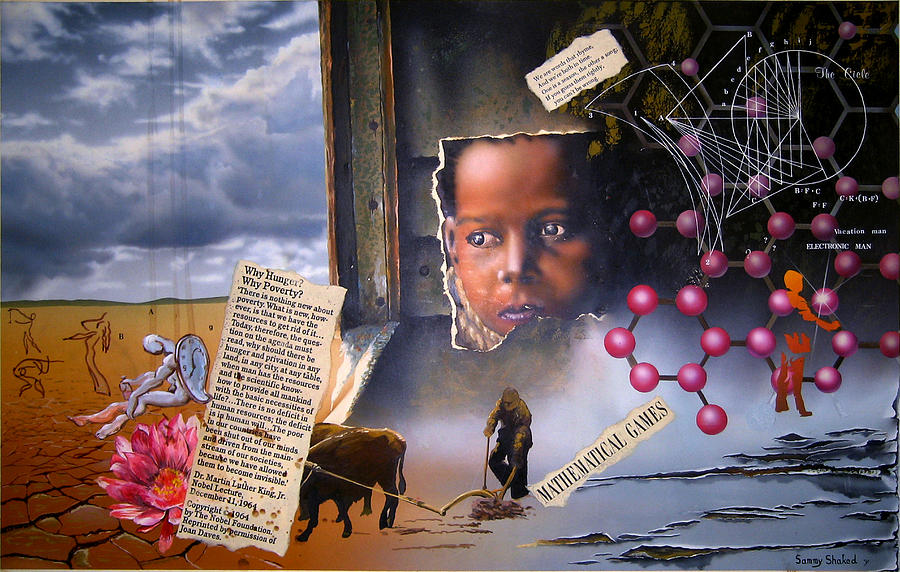 Mix Media Painting - Why Hunger? Why Poverty? by Sam Shacked