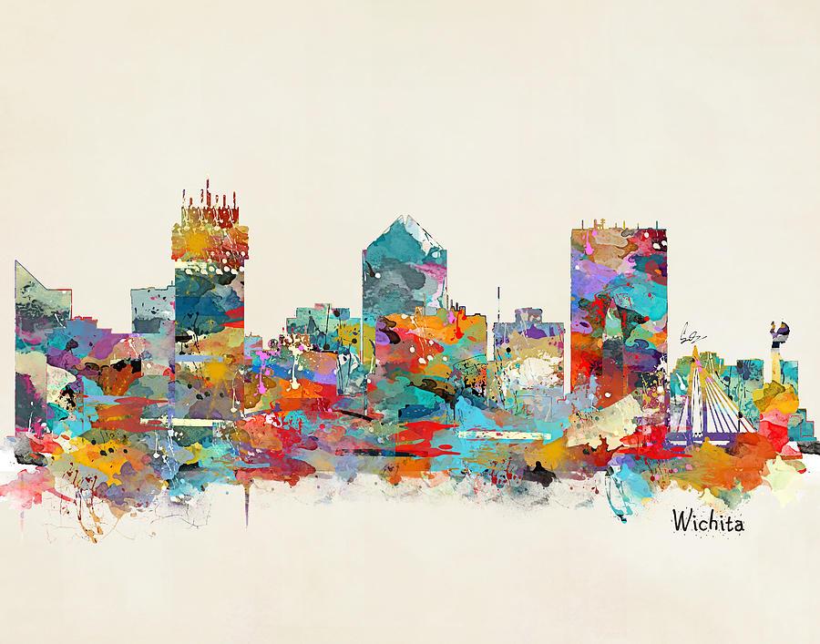 Wichita Kansas Skyline Painting By Bri Buckley