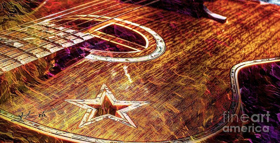 Acoustic Photograph - Wicked Music Digital Guitar Art By Steven Langston by Steven Lebron Langston