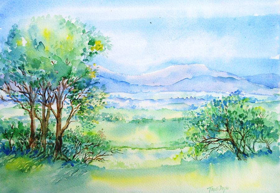 Watercolor Painting Painting - Wicklow Landscape In Summer by Trudi Doyle
