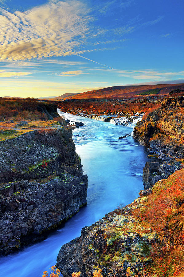 Wide Angle Of Hraunfossar Flowing Into Photograph by Anna Gorin