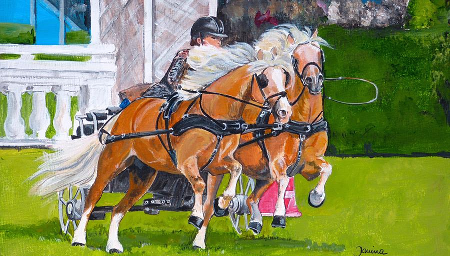 Animals Painting - Widescreen Hickstead by Janina  Suuronen