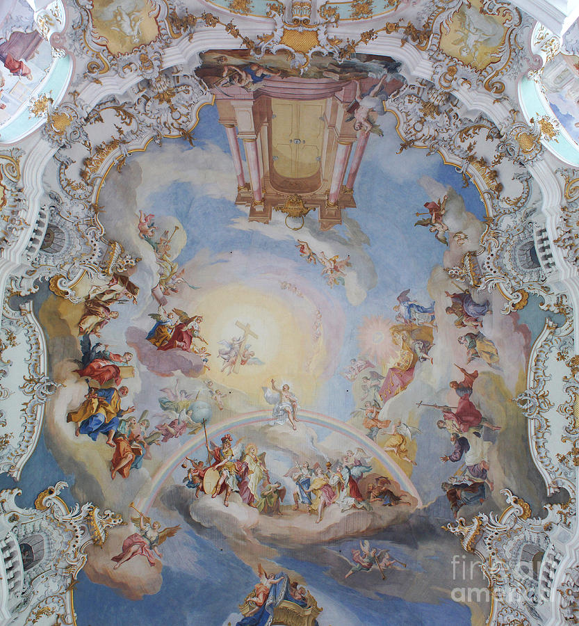 Rudi Photograph - Wies Pilgrimage Church Bavaria Fresko by Rudi Prott
