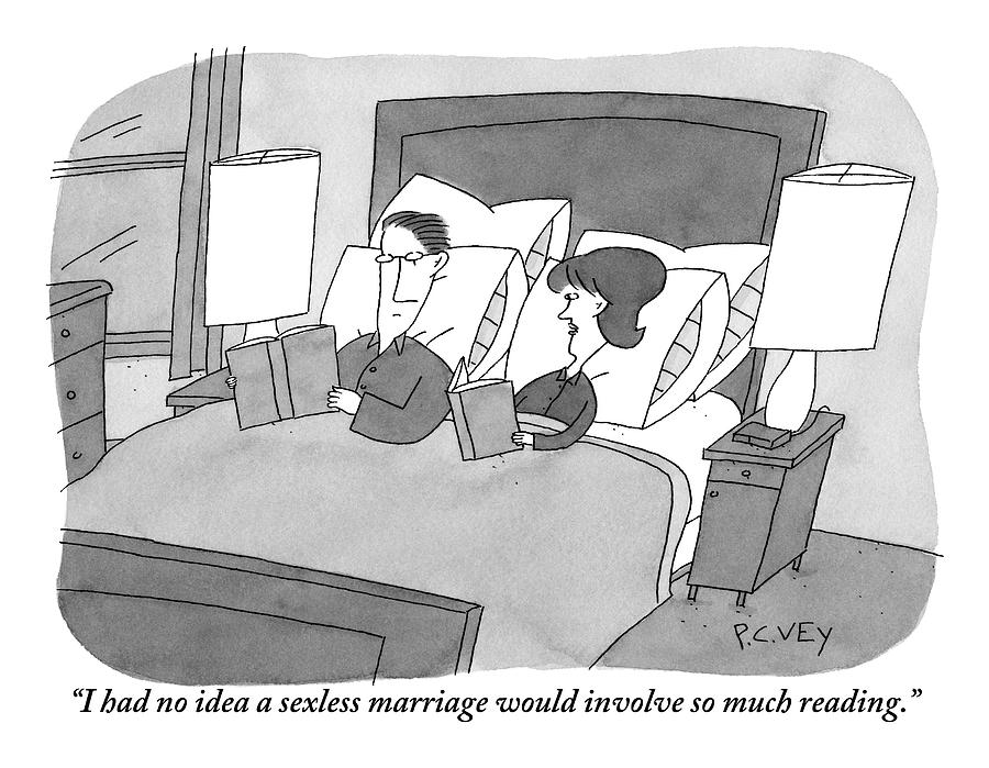 Wife Addresses Husband As Both Read Books In Bed Drawing by Peter C. Vey