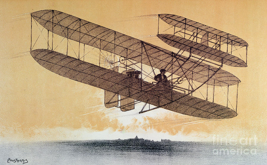 Orville Painting - Wilbur Wright in his Flyer by Leon Pousthomis