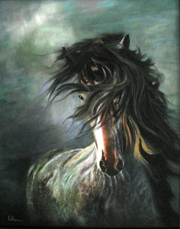 Horse Painting - Wild And Free by LaVonne Hand