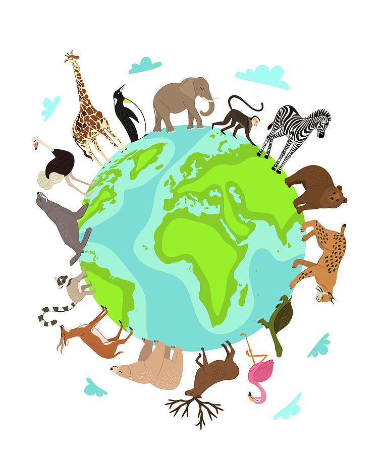 Wild Animals Around Globe Banner Digital Art by Alfazetchronicles
