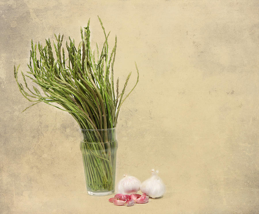 Asparagus Photograph - Wild Asparagus And Garlic by Angela Bruno