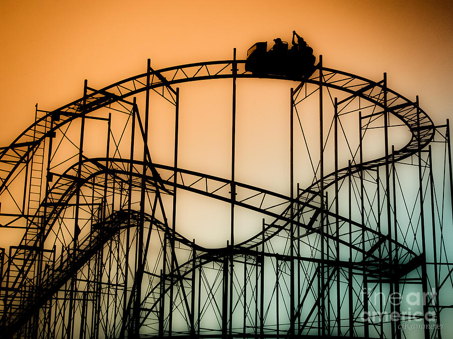 Rollercoaster Photograph - Wild At Night by Colleen Kammerer