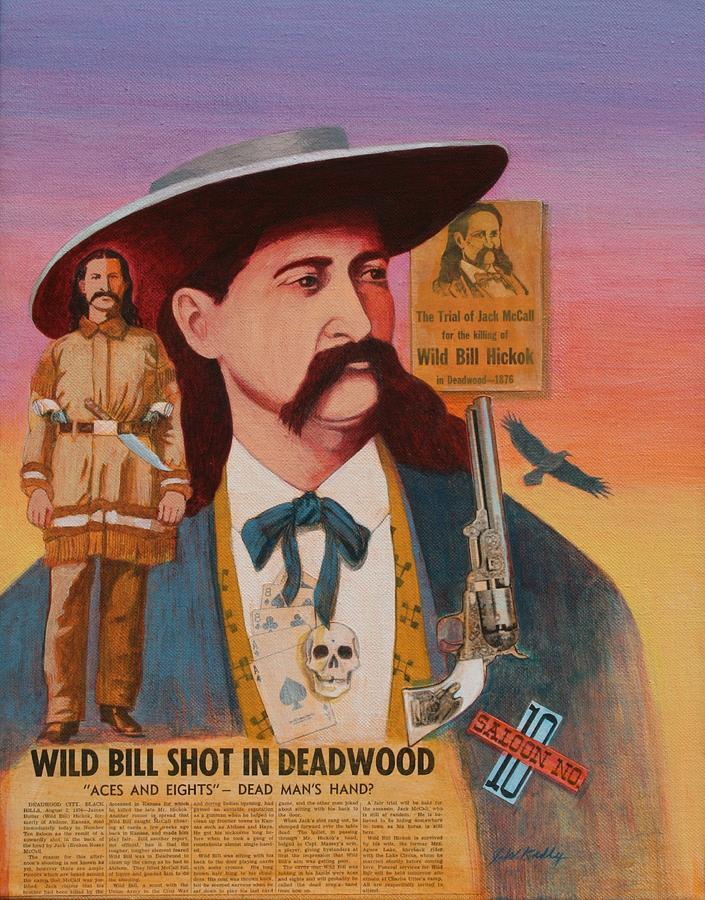 Pistol Painting - Wild Bill Hickok  by J W Kelly