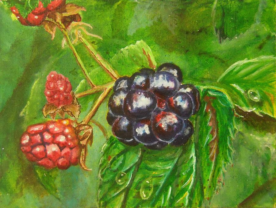 Spring Painting - Wild BLackberries by Nicole Angell
