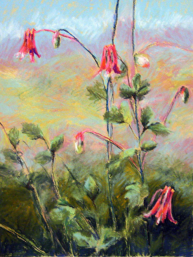 Flowers Pastel - Wild Columbines by Lenore Gaudet