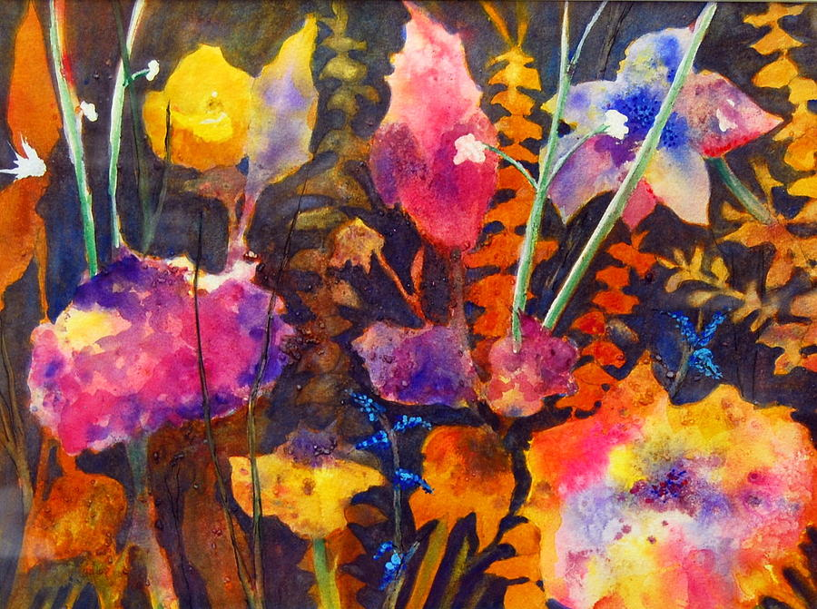 Abstract Floral Painting - Wild Cottage Garden by Henny Dagenais
