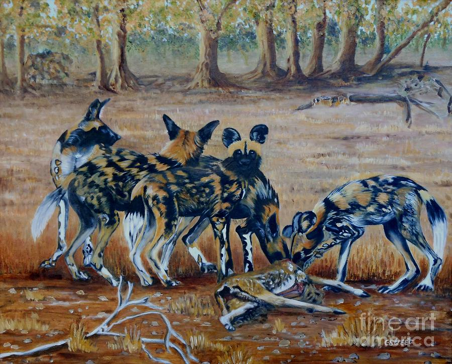 Wild Dogs Painting - Wild Dogs After The Chase by Caroline Street