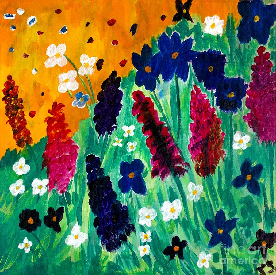Black Flower Watercolor Art By Tae Lee: Wild Flower Fantasy Painting By Katy Scott
