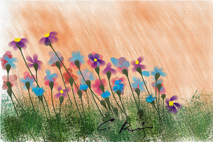 Flowers Painting - Wild flowers by Charlie Roman