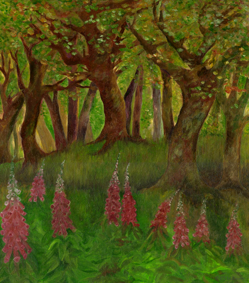 Forest Painting - Wild Foxgloves by FT McKinstry