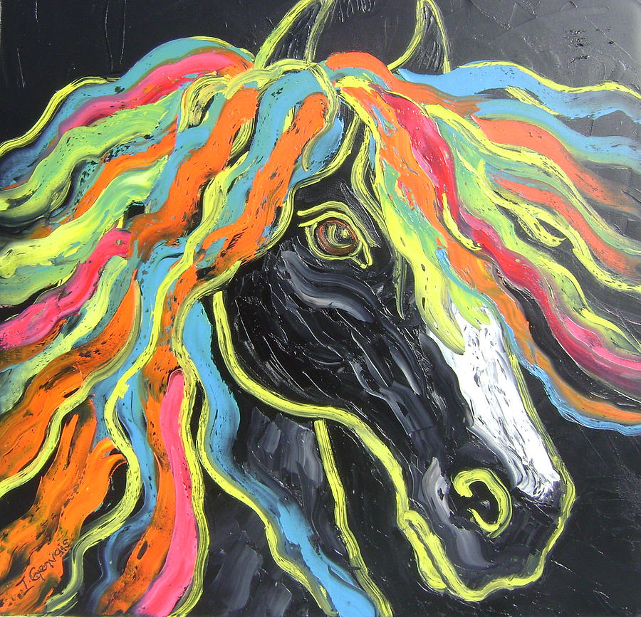 Isabelle Painting - Wild Horse by Isabelle Gervais