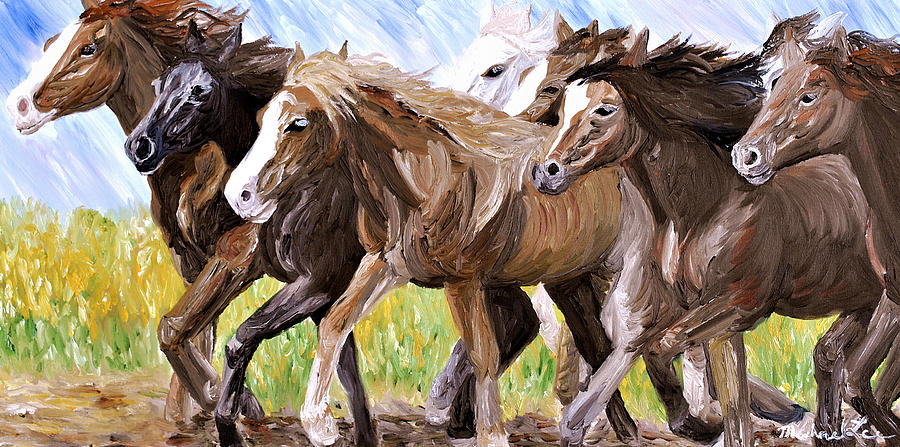 Wild Horses Running By Painting by Michael Lee