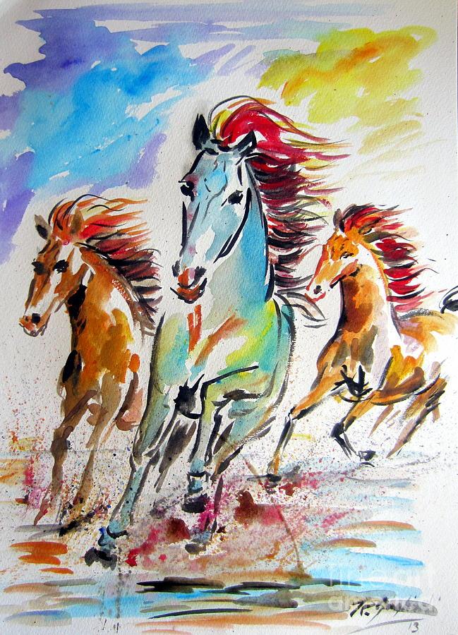 Wild Horses Running Painting by Roberto Gagliardi