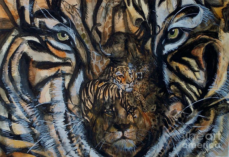 Tiger Painting - Wild by Laneea Tolley