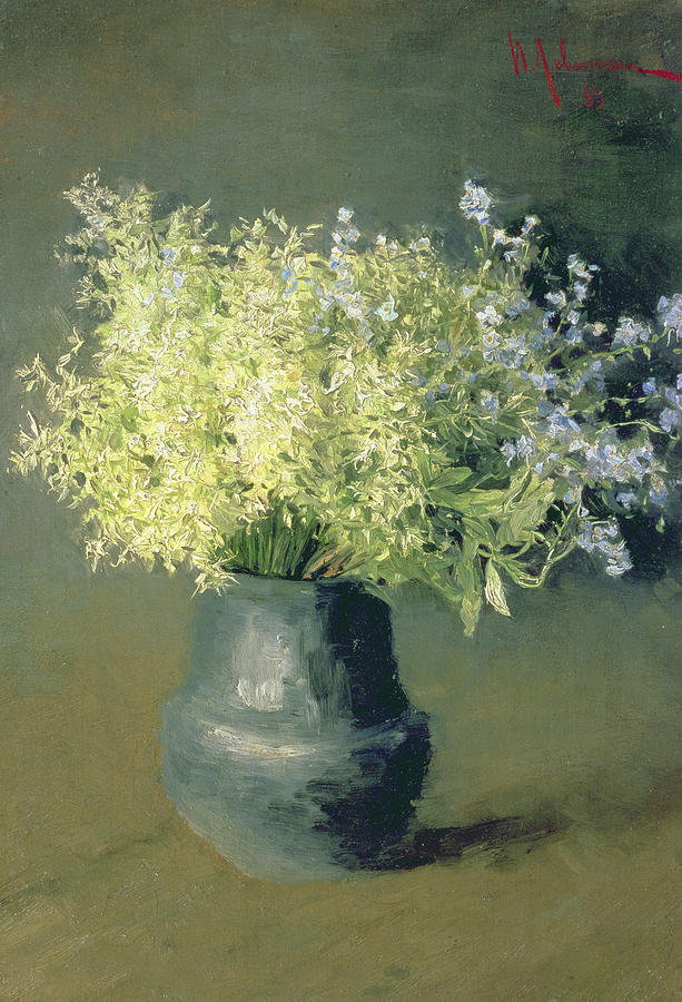 Still-life Painting - Wild Lilacs And Forget Me Nots by Isaak Ilyich Levitan