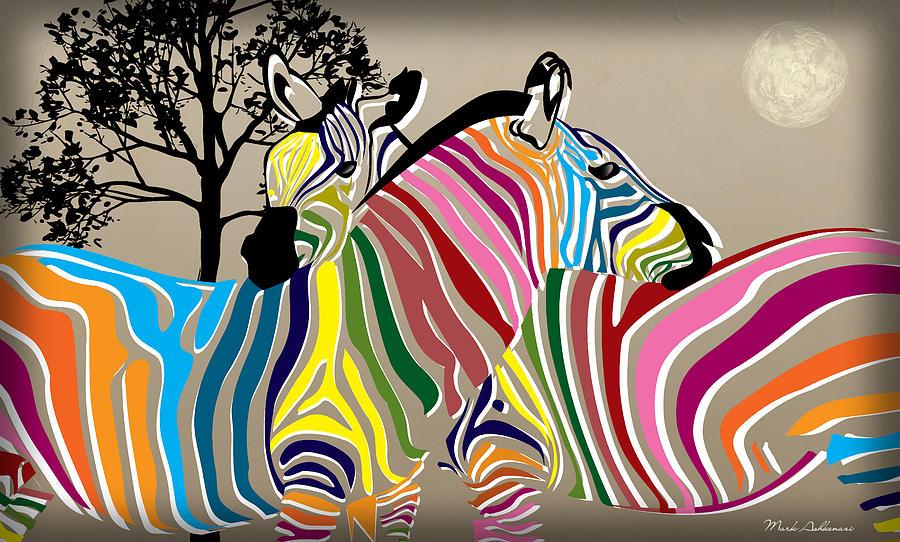 Zebra Digital Art - Wild Love 2 by Mark Ashkenazi