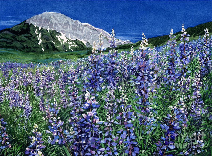 Summer Landscape Painting - Wild Lupine by Barbara Jewell
