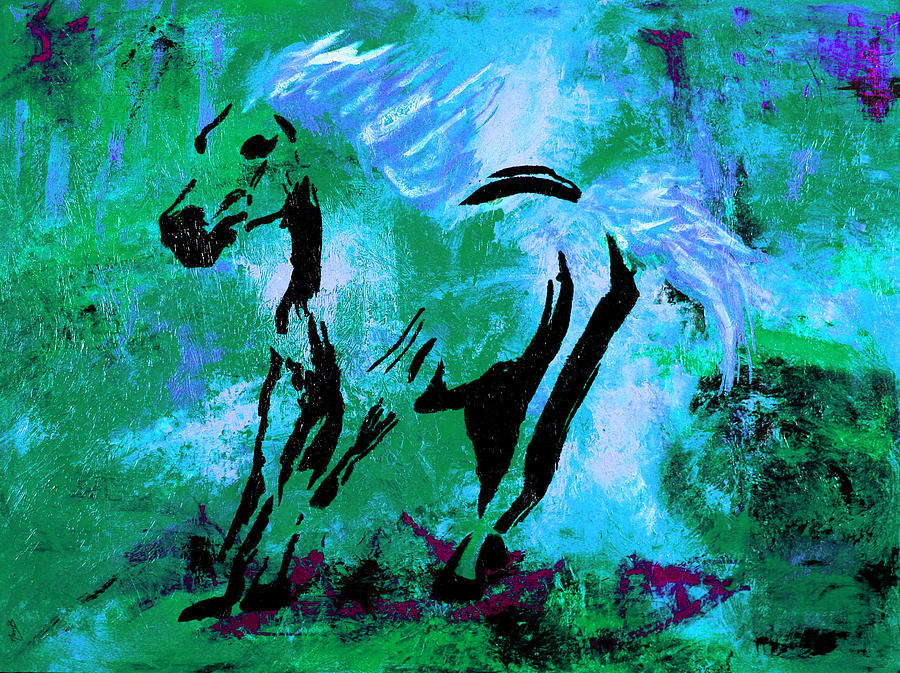 Running Horse Painting - Wild Midnight by Nan Bilden