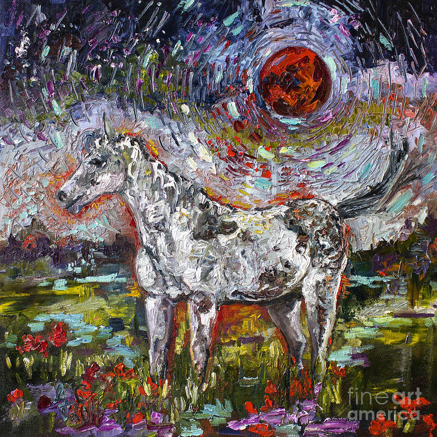 Wild Pony under Crimson Moon Painting by Ginette Callaway