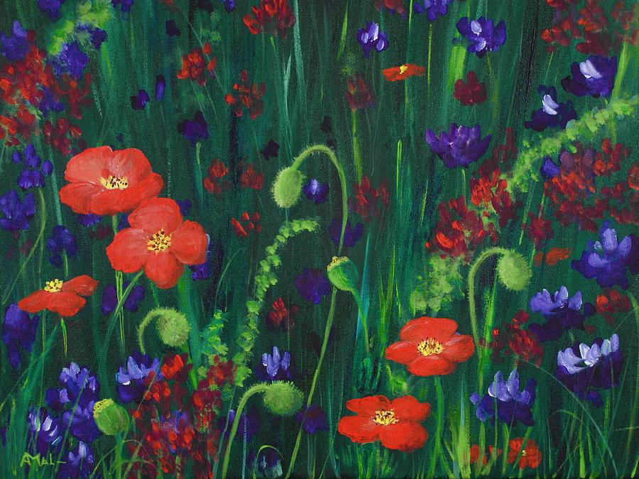 Wildflowers Painting - Wild Poppies by Anastasiya Malakhova