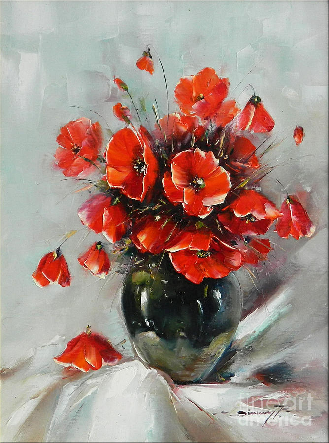 Well known Wild Poppies Bouquet Painting by Petrica Sincu MN83