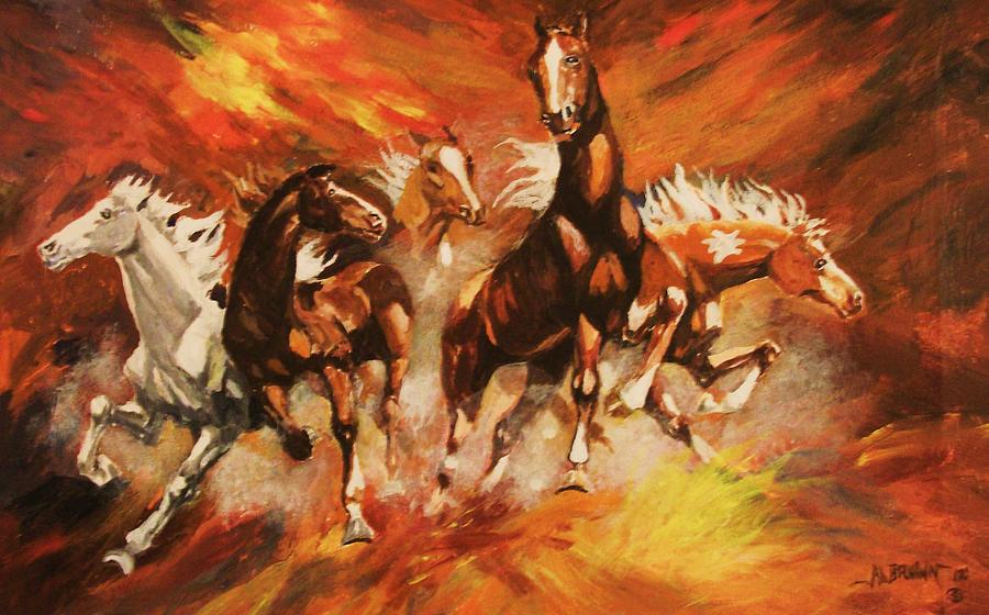 Horses Painting - Mustangs In A Frenzy by Al Brown