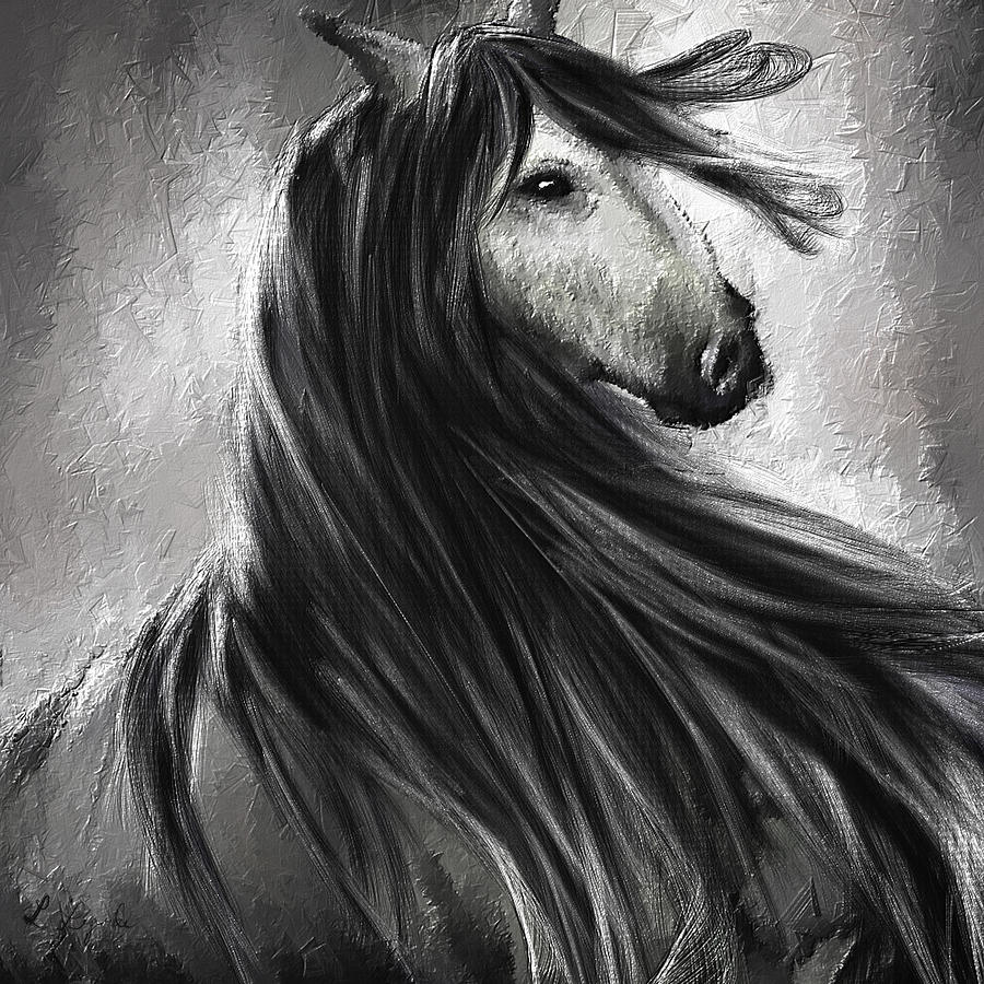 Wild soul fine art horse artwork painting by lourry legarde for White and black paintings