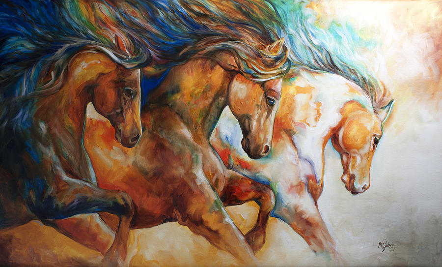 Horse Painting - Wild Trio Run by Marcia Baldwin