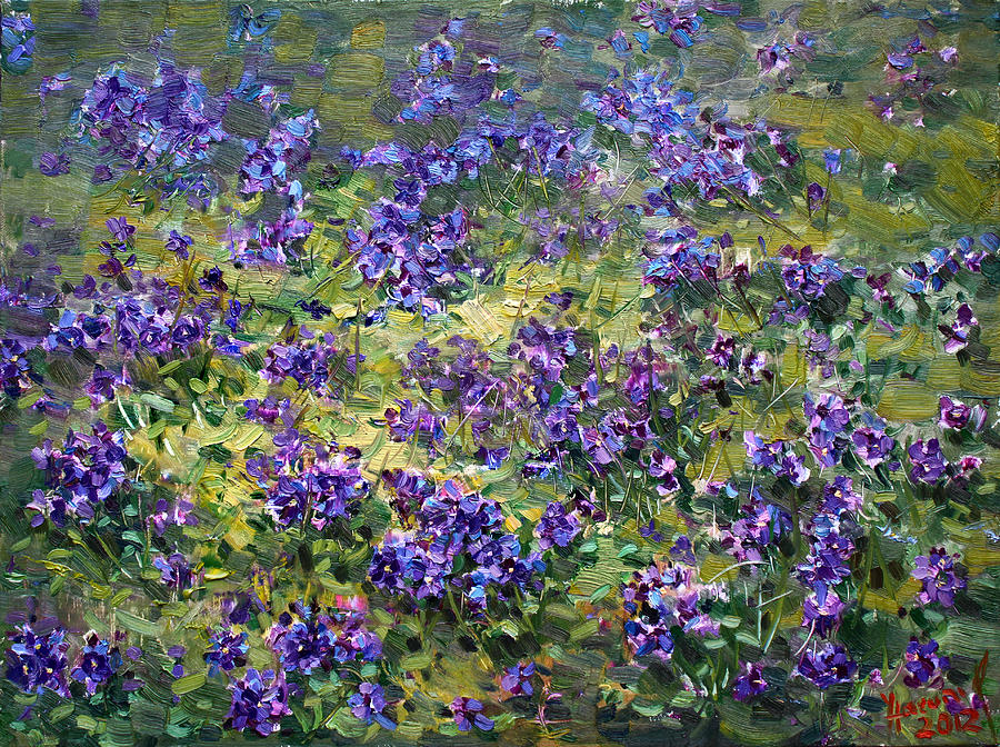 Wild Violets Painting By Ylli Haruni