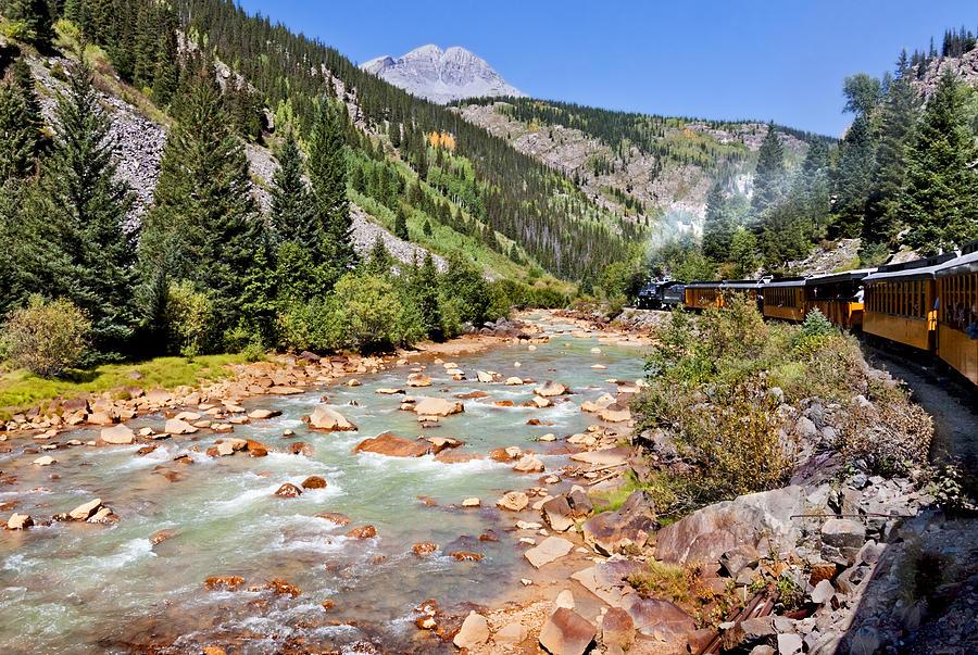 Photo Photograph - Wild West Train Ride Along The Animas River From Durango To Silverton Colorado by Karen Stephenson