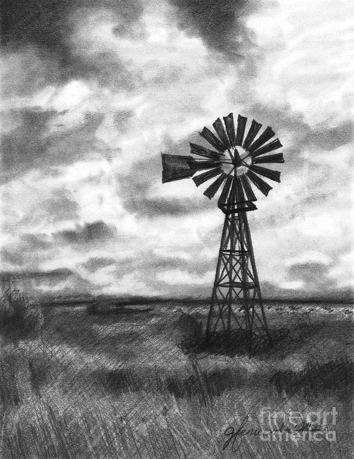 Drawing Drawing - Wild Wind And Sunshine by J Ferwerda
