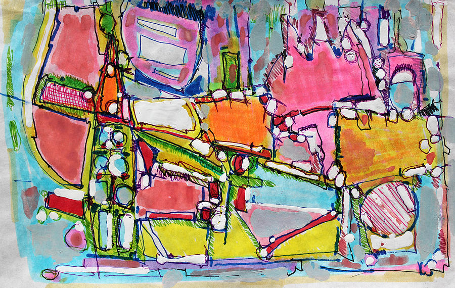 Abstract Painting Painting - Wild World In The City by Hari Thomas