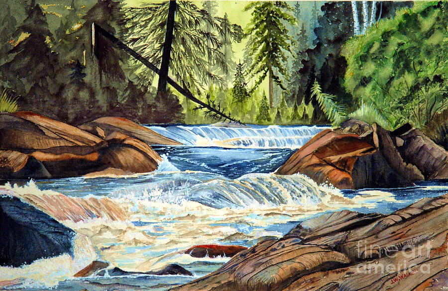 River Painting - Wilderness River I by John W Walker