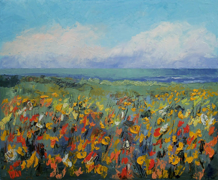 Wild Painting - Wildflower Seascape by Michael Creese