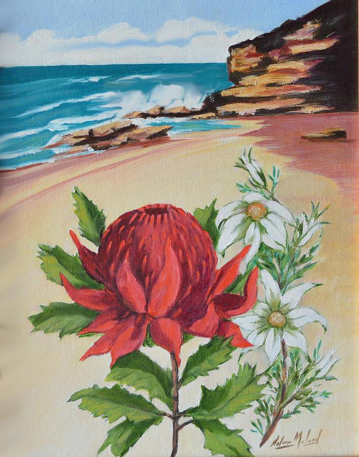 Beach Scene Painting - Wildflowers And Headland by Aileen McLeod