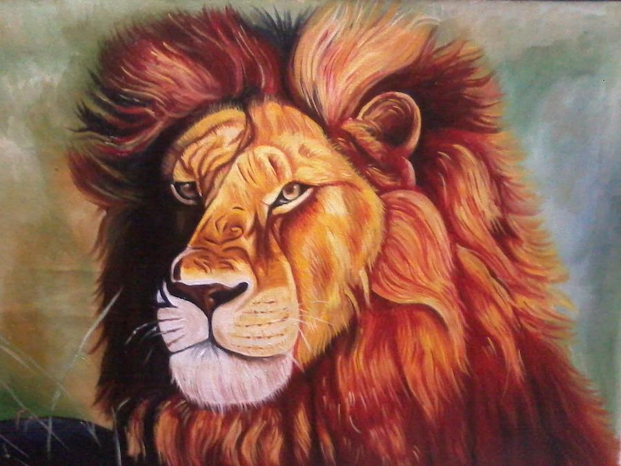 Lion Painting - Wildlife by Vigneswaran Janarthanan