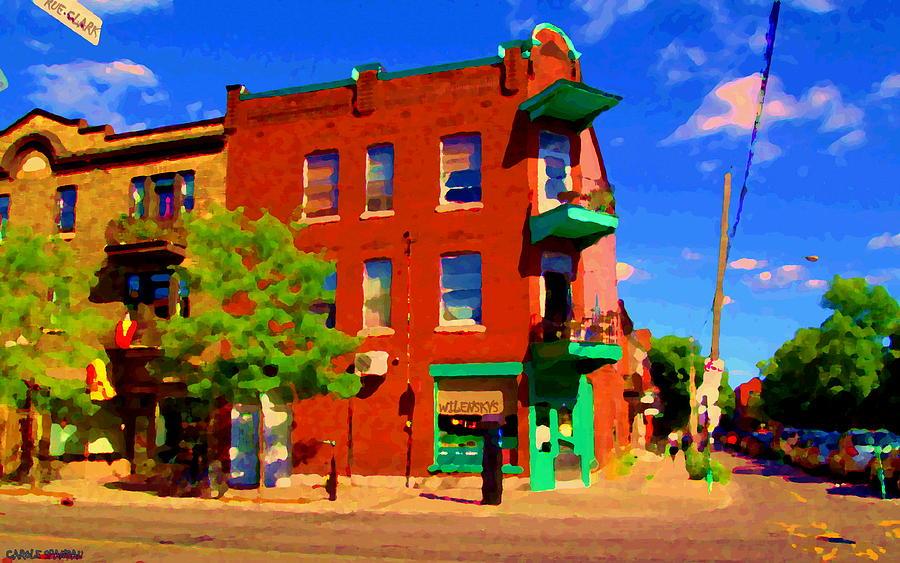 Montreal Painting - Wilenskys Deli Light Lunch Famous Sandwich Coffee Shop Art Of Montreal Street Scene Carole Spandau by Carole Spandau