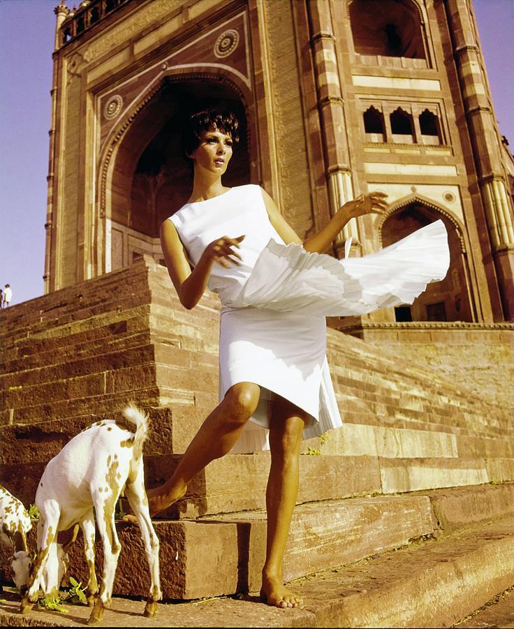 Fashion Photograph - Wilhelmina Wearing A Larry Aldrich Dress by Henry Clarke
