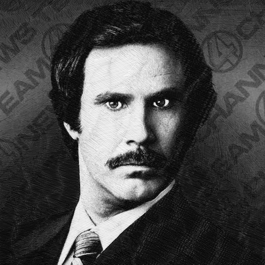 Anchorman Drawing - Will Ferrell Anchorman The Legend Of Ron Burgundy Drawing by Tony Rubino