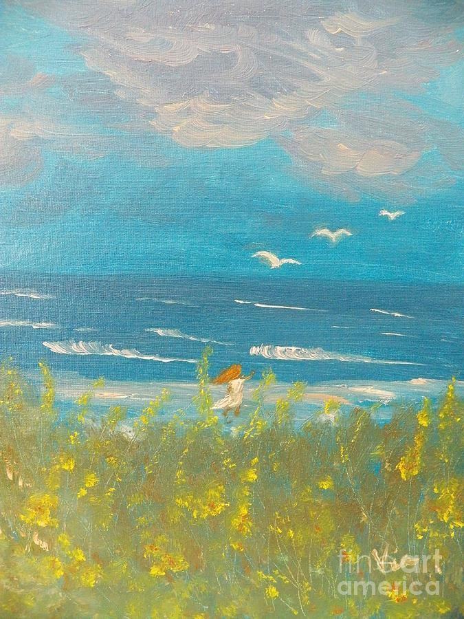 Beach Painting - Will She Still Be Sad by Judy Via-Wolff