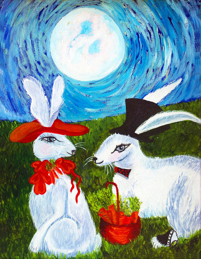 Full Moon Painting - Will You by Donna Parker