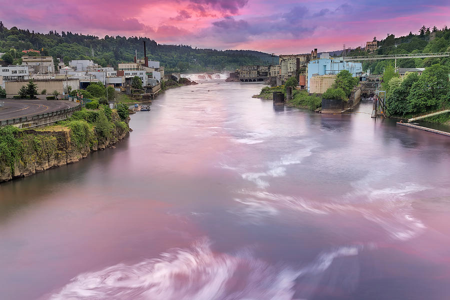 Willamette Falls Photograph - Willamette Falls During Sunset by David Gn